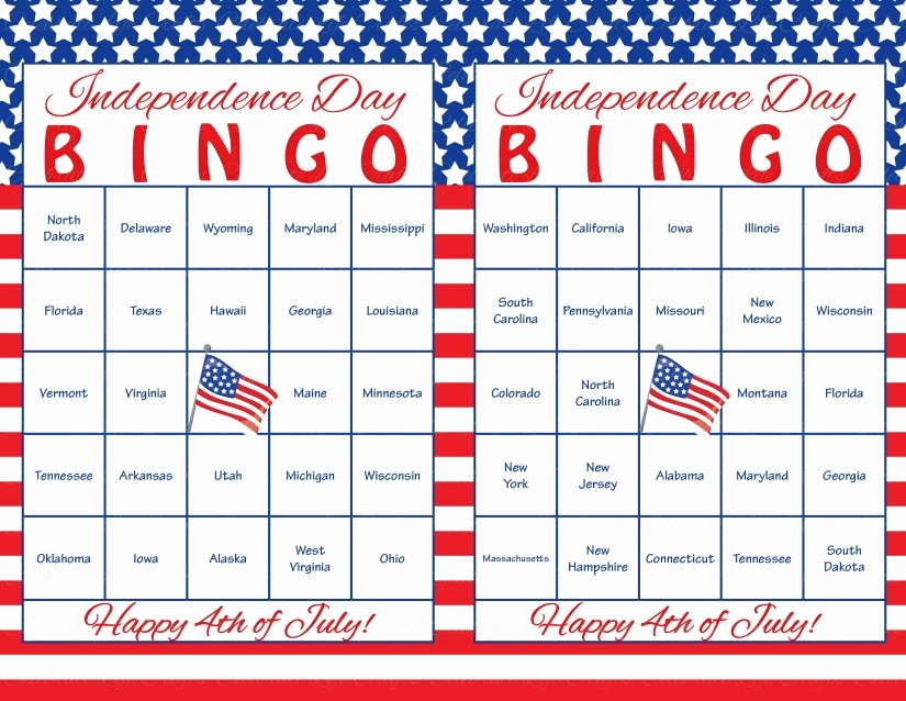 4th Of July Cards Printable Lovely 60 4th Of July Printable Bingo Cards Patriotic 50 Us States