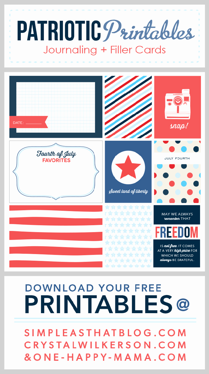 4th Of July Cards Printable Unique Fourth Of July Journaling Filler Cards
