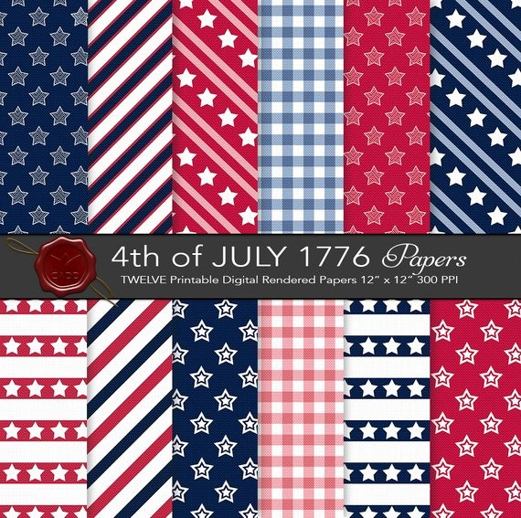 4th Of July Cards Printable Unique Patriotic Paper 12x12in 300ppi Printable by