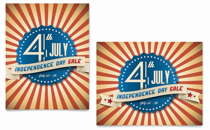 4th Of July Menu Template Awesome 4th Of July Sale Poster Template Design