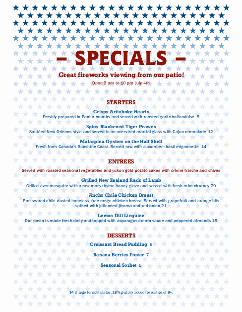 4th Of July Menu Template Awesome Independence Day Menu Letter
