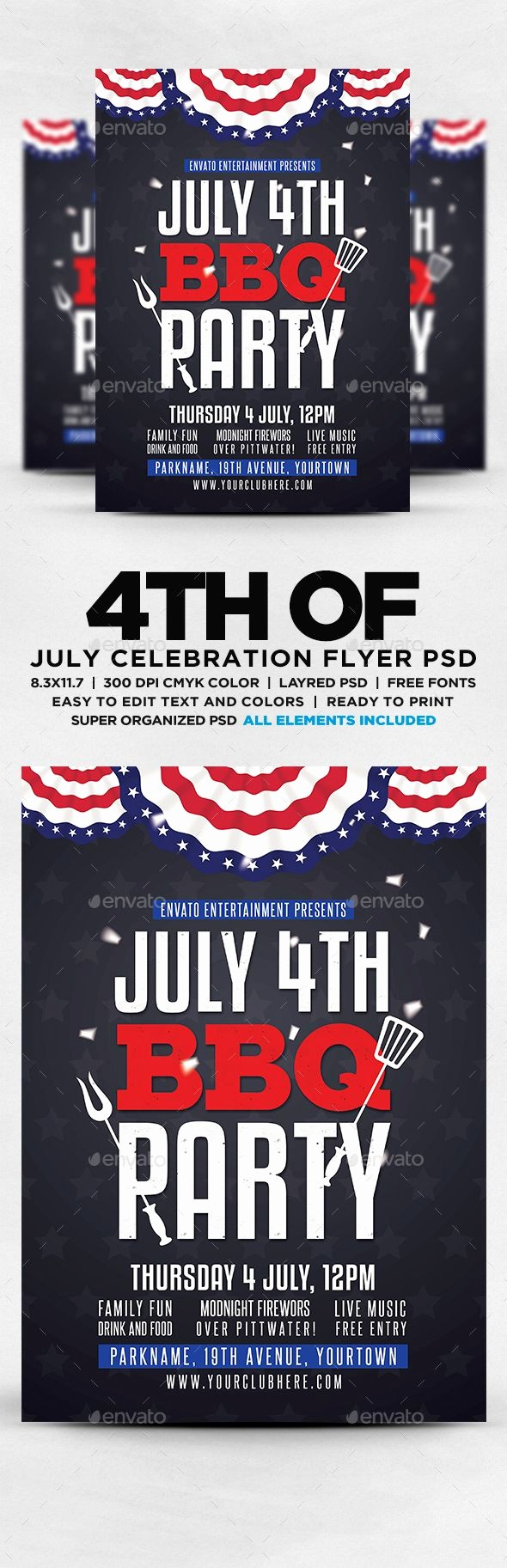 4th Of July Menu Template Awesome July 4th Bbq Flyer Template Psd