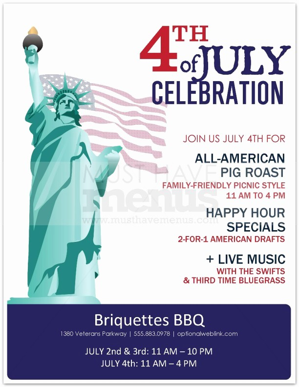 4th Of July Menu Template Best Of Bbq 4th Of July Flyer
