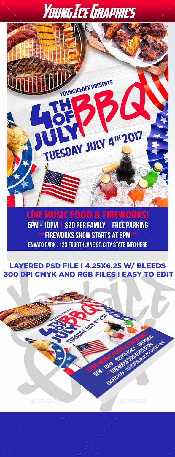 4th Of July Menu Template Fresh 4th Of July Bbq Flyer Template by Youngicegfx