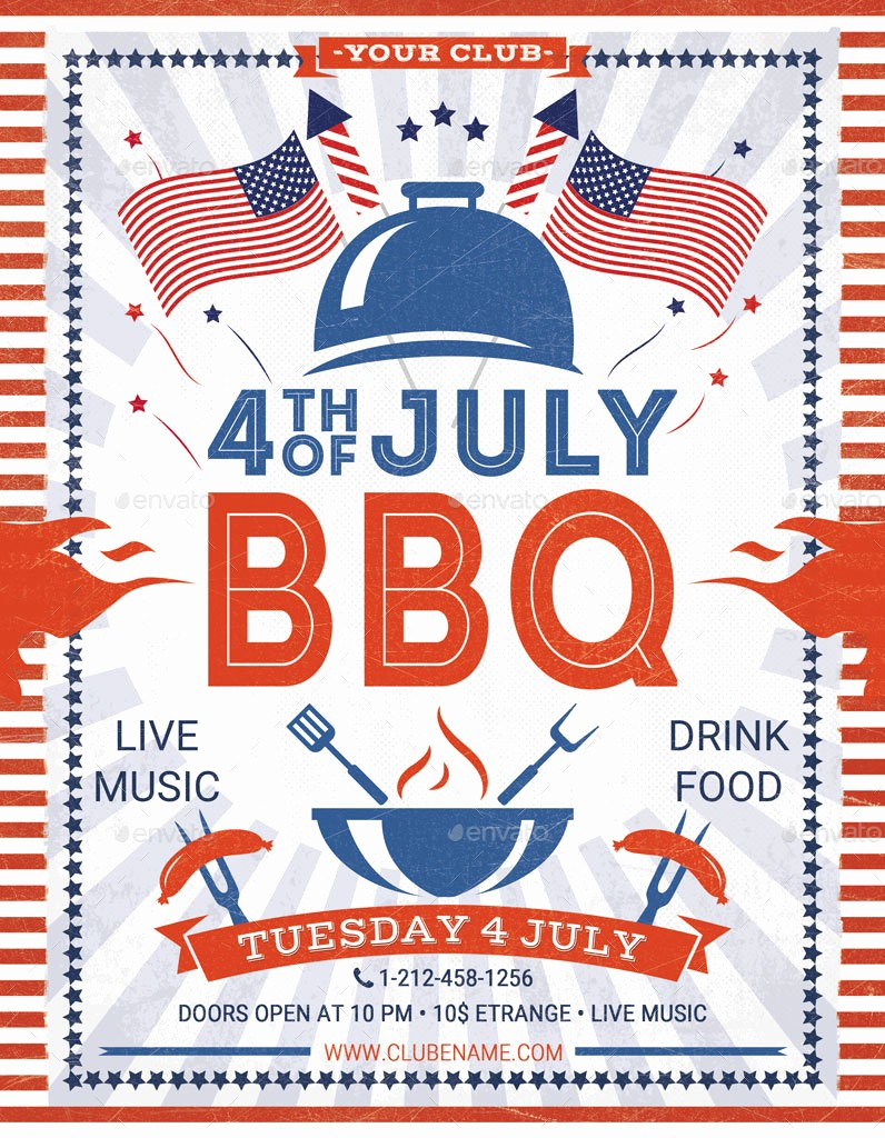 4th Of July Menu Template Fresh 4th Of July Labor Day Bbq Flyers by Oloreon