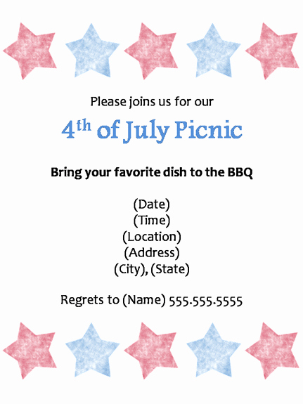 4th Of July Menu Template Fresh Printable Potluck Invitations