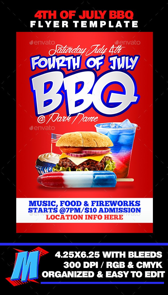 4th Of July Menu Template Lovely 4th Of July Bbq Flyer Template by Megakidgfx