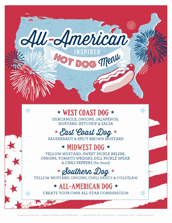 4th Of July Menu Template Lovely Free Printable 4th July Birthday Party Invitation