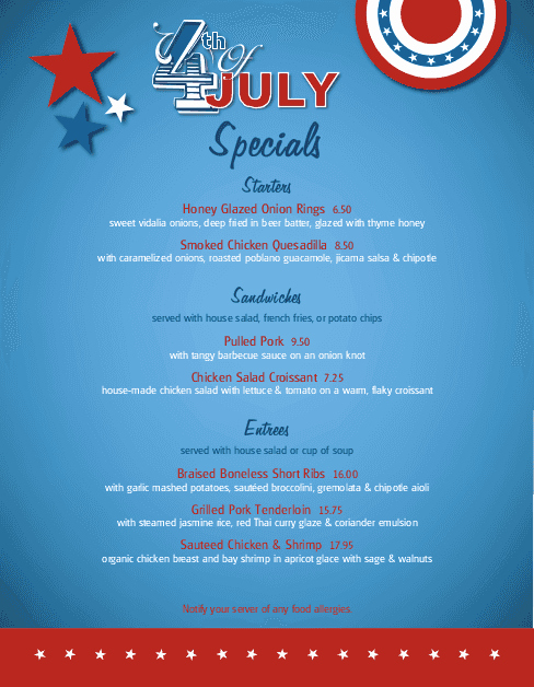 4th Of July Menu Template Lovely July 4th Celebration Specials Menu