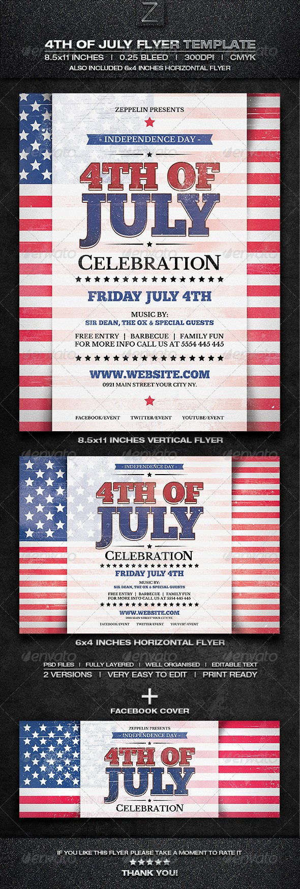 4th Of July Menu Template Luxury 4th July Flyer Template by Flyers Zeppelin