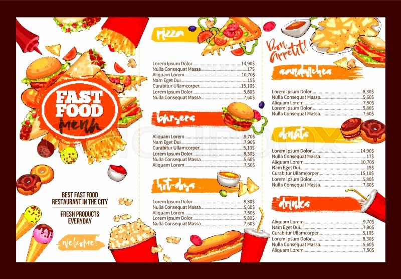 4th Of July Menu Template Luxury 4th July Menu Template Printable Fast Food Restaurant