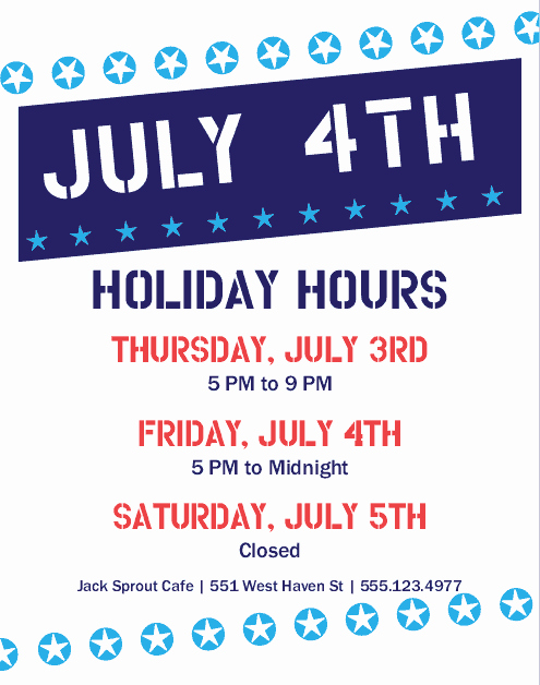 4th Of July Menu Template Luxury 4th Of July Hours Flyer