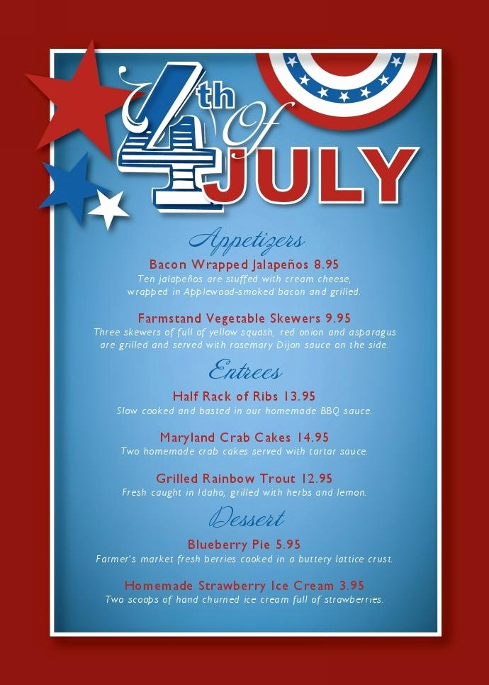 4th Of July Menu Template New Cancel Save