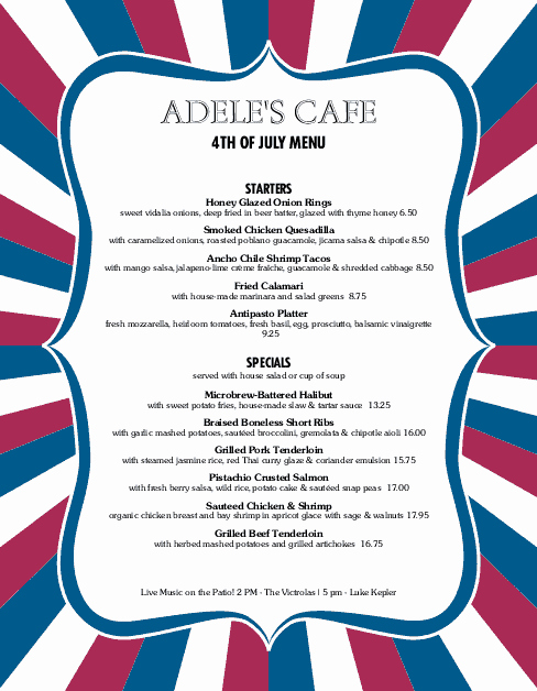 4th Of July Menu Template New July 4th Menu