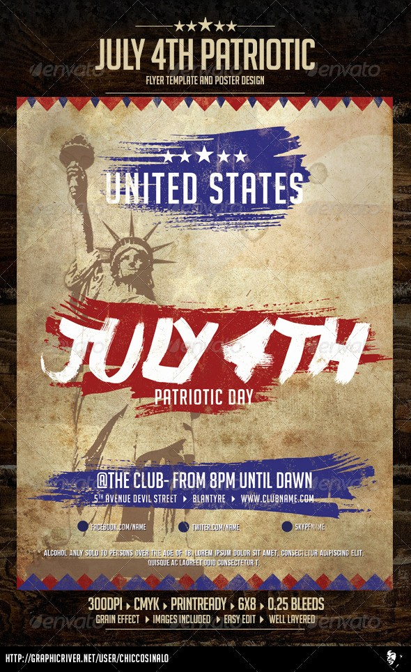 4th Of July Menu Template Unique July Patriotic 4th Flyer Template by Chiccosinalo