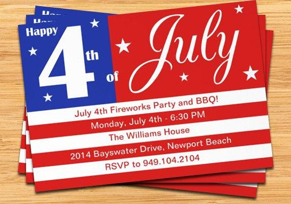 4th Of July Party Invites Awesome 4th Of July Party Invitation Us Flag 5x7 Printable