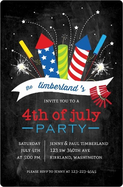 4th Of July Party Invites Awesome Cheerful Fireworks Fourth Of July Party Invitation