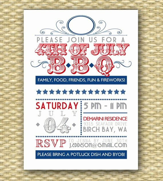 4th Of July Party Invites Awesome Vintage July 4th Bbq Invitation Independence Day 4th Of July