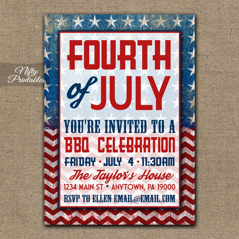 4th Of July Party Invites Elegant 4th July Party Invitations Bbq Nifty Printables