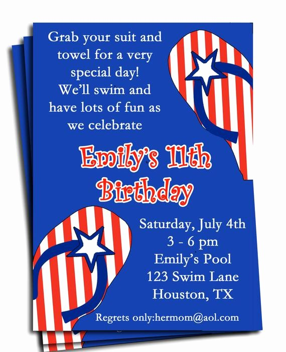 4th Of July Party Invites Elegant Fourth Of July Pool Party Invitation Printable or Printed with