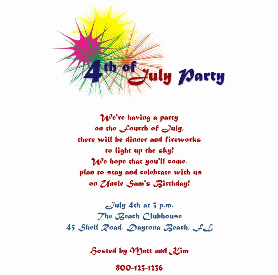 4th Of July Party Invites Fresh 4th Of July Party Invitations 5 Wording
