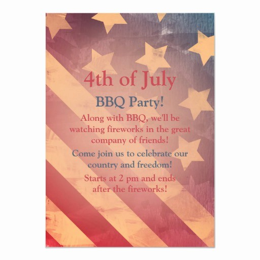 4th Of July Party Invites Fresh Gra Nt Flag 4th Of July Party Invitation