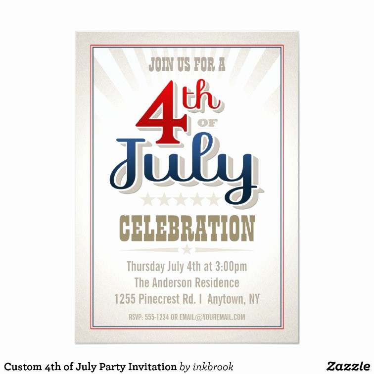 4th Of July Party Invites Inspirational Custom 4th Of July Party Invitation