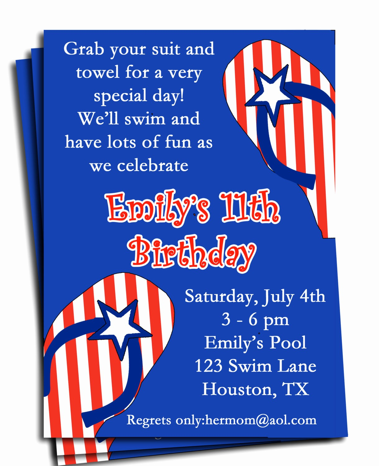 4th Of July Party Invites Inspirational Fourth Of July Pool Party Invitation Printable or Printed with