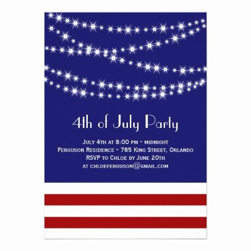 4th Of July Party Invites Inspirational Twinkle Lights 4th Of July Party Invitation