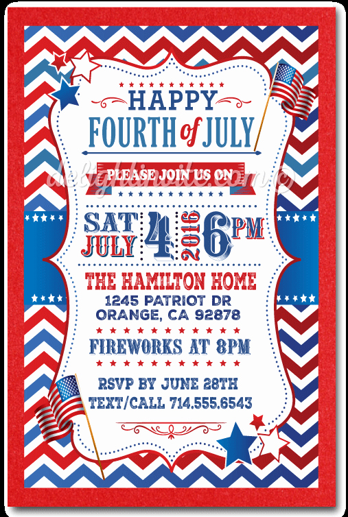 4th Of July Party Invites Lovely July 4th Party Invitations Custom Invitations and