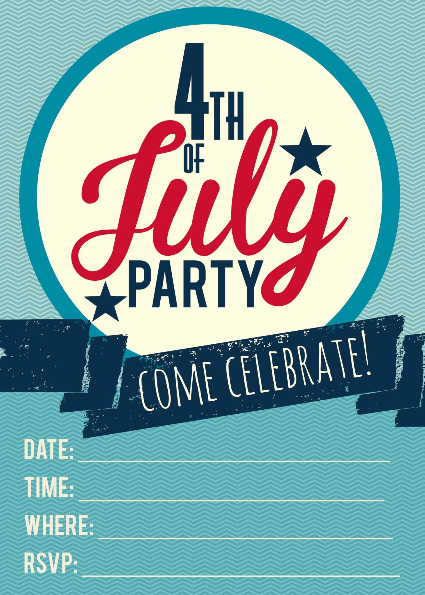 4th Of July Party Invites Unique 4th Of July Printable Invitations
