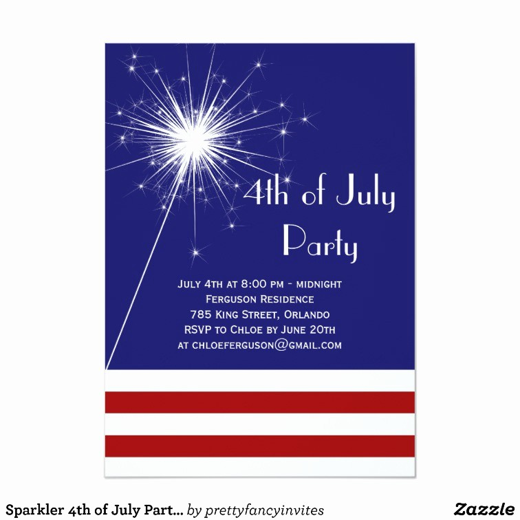 4th Of July Party Invites Unique Sparkler 4th Of July Party Invitation