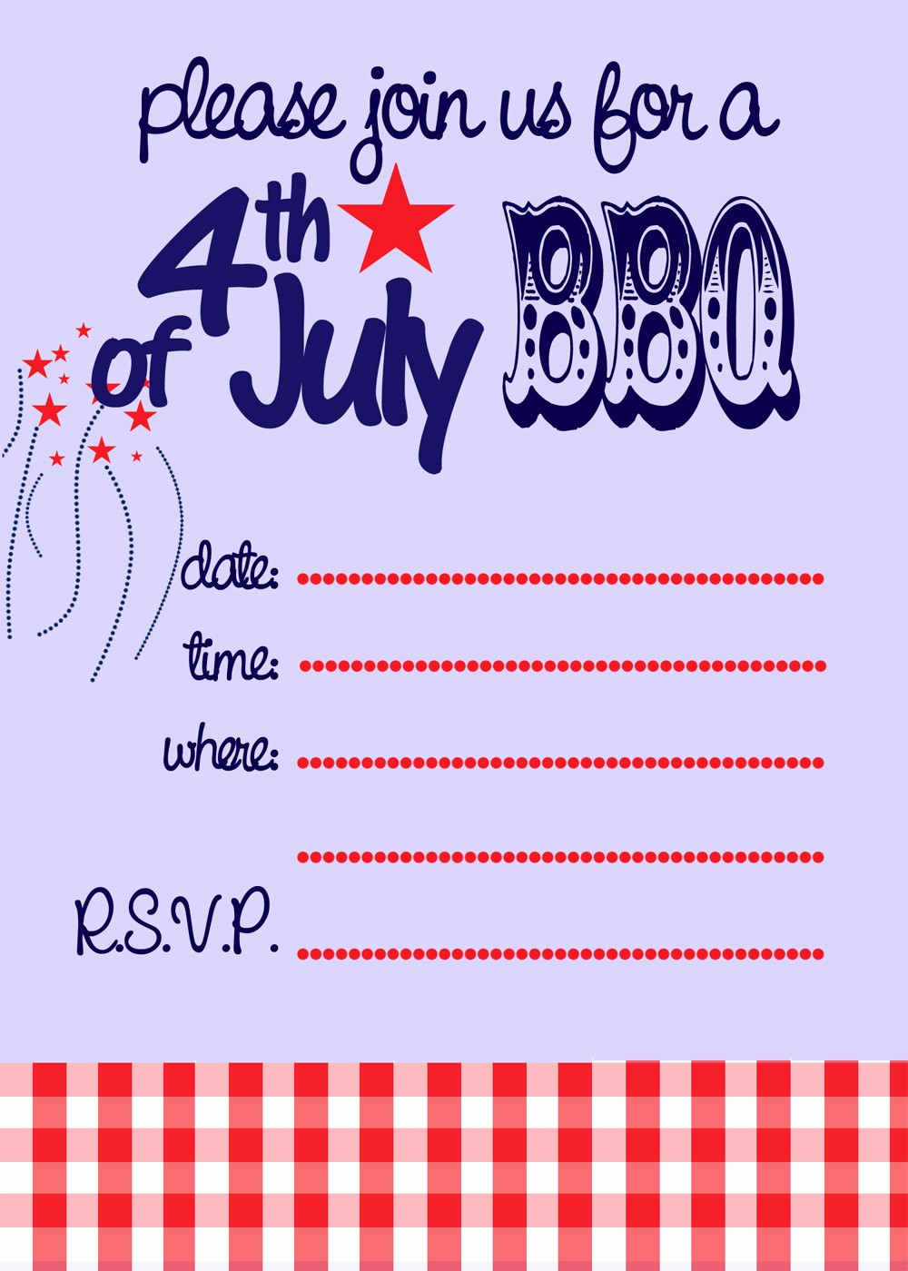 4th Of July Templates Free Awesome 6 Best Of 4th July Invitations Templates