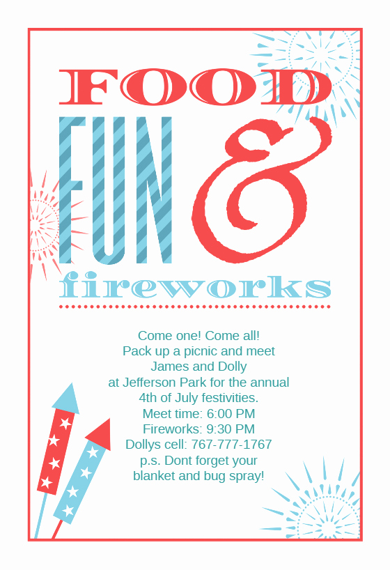 4th Of July Templates Free Awesome Food Fun and Fireworks Free 4th Of July Invitation