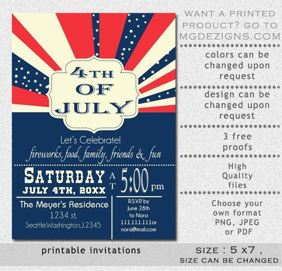 4th Of July Templates Free Inspirational Printable Retro 4th Of July Party Invitation Templates
