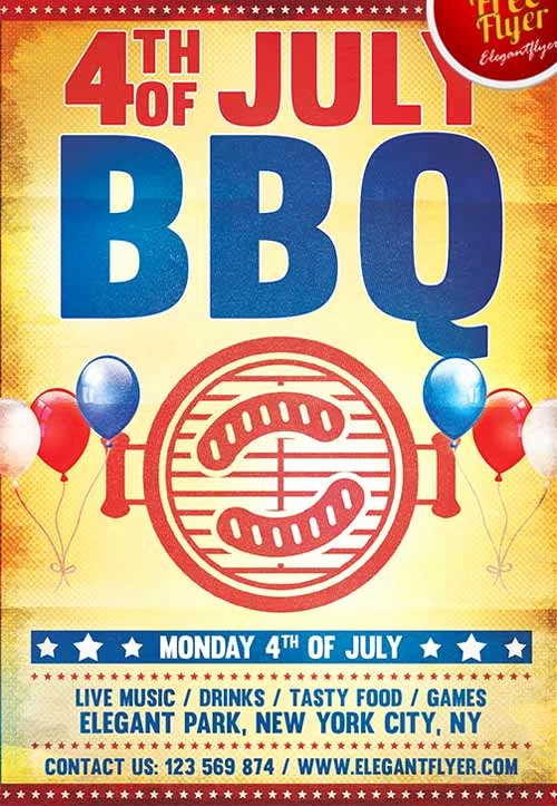 4th Of July Templates Free Lovely Download the 4th Of July Bbq Party Free Flyer Template