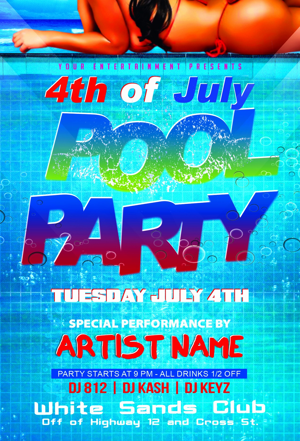 4th july pool party flyer template