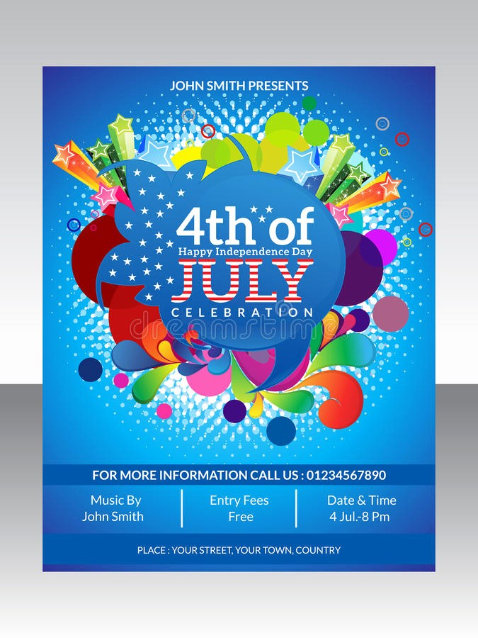 4th Of July Templates Free New Abstract Fourth July Flyer Template Stock Vector