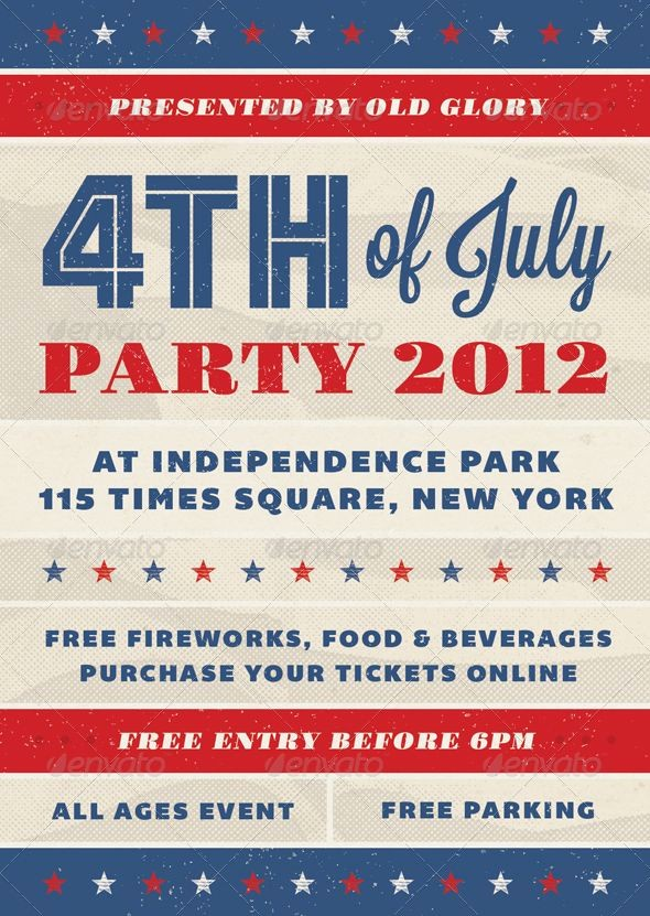 4th Of July Templates Free New Old Glory Fourth Of July event Flyer