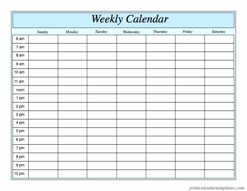 5 Day Calendar Template Word Best Of Printable Weekly Calendar 2018