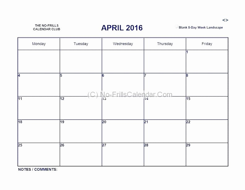 5 Day Calendar Template Word Elegant Days the Week Calendar Template Printable 5 Day Excel