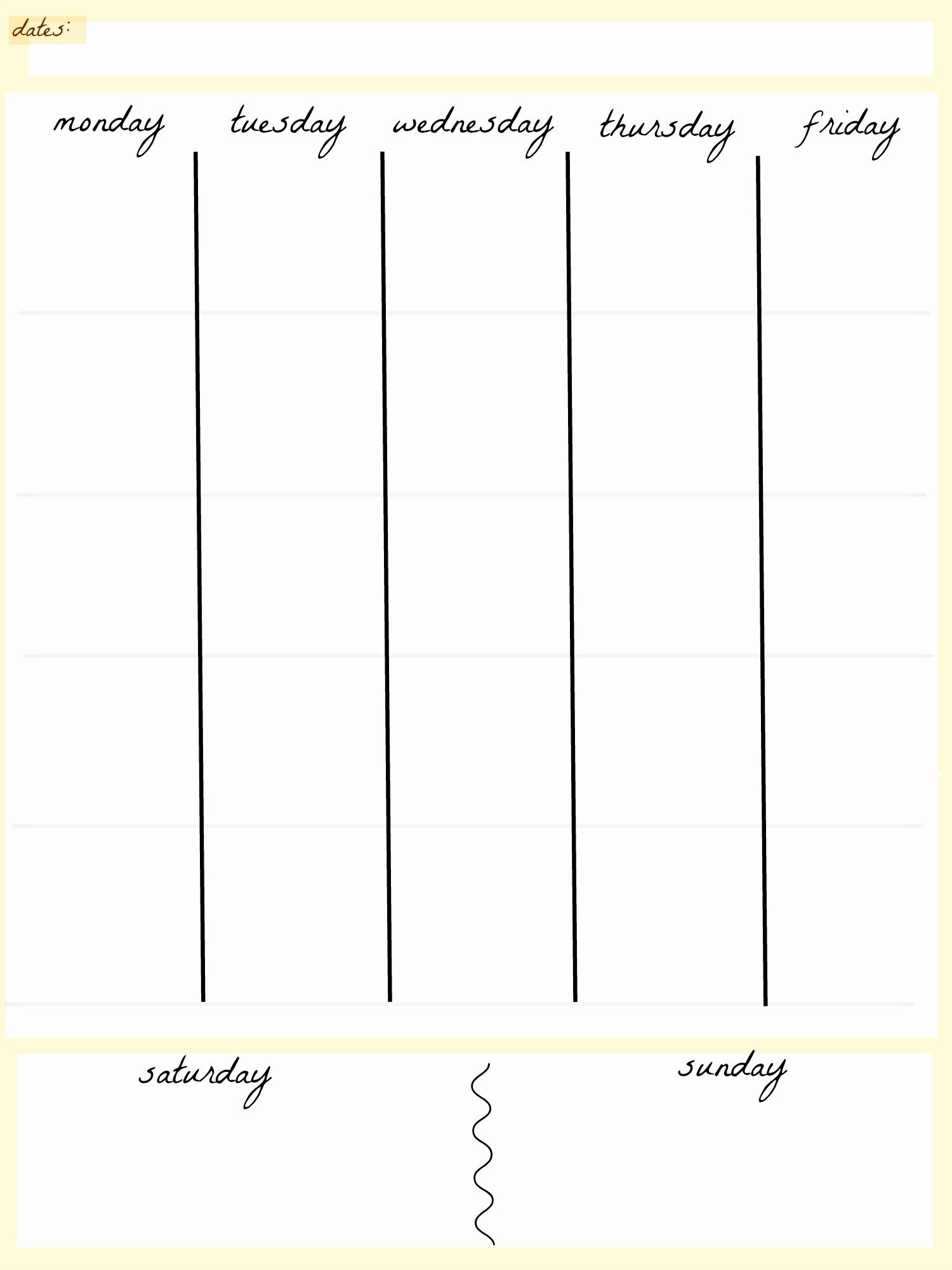 5 Day Calendar Template Word Lovely Weekly Calendar Print Out