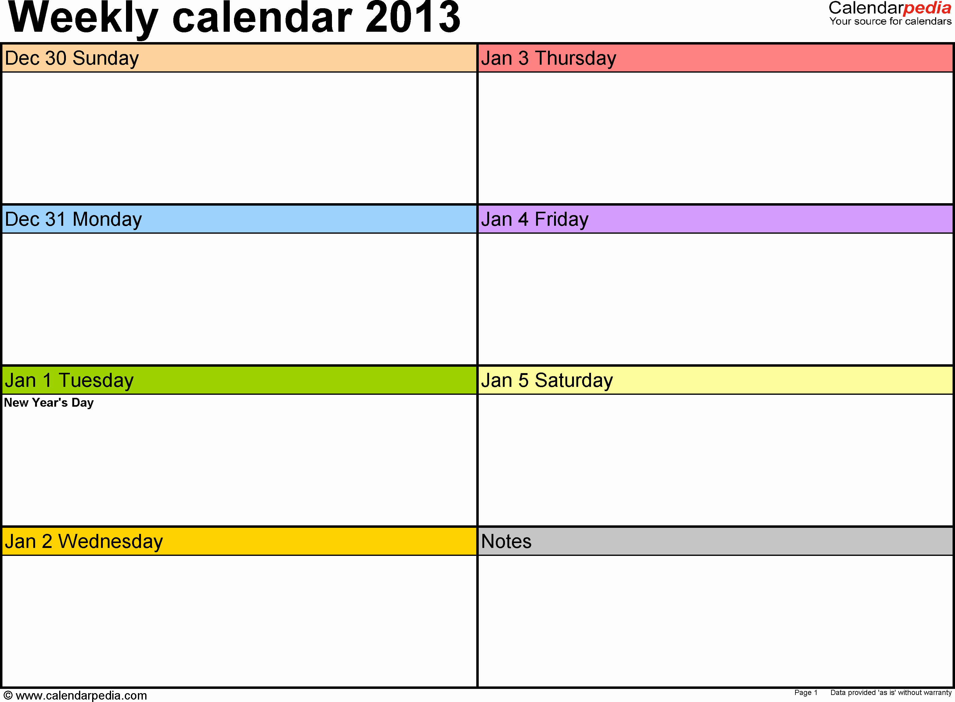 5 Day Calendar Template Word Unique Weekly Calendar 2013 for Word 4 Free Printable Templates
