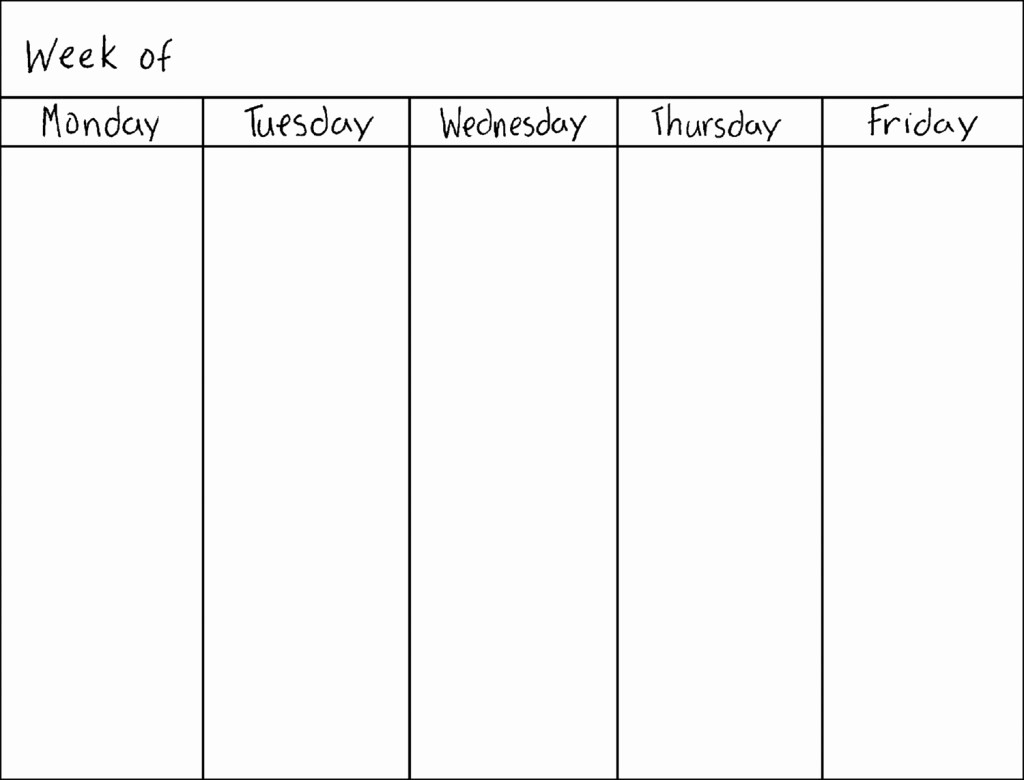 5 Day Weekly Calendar Template Awesome Weekly Calendar Blank