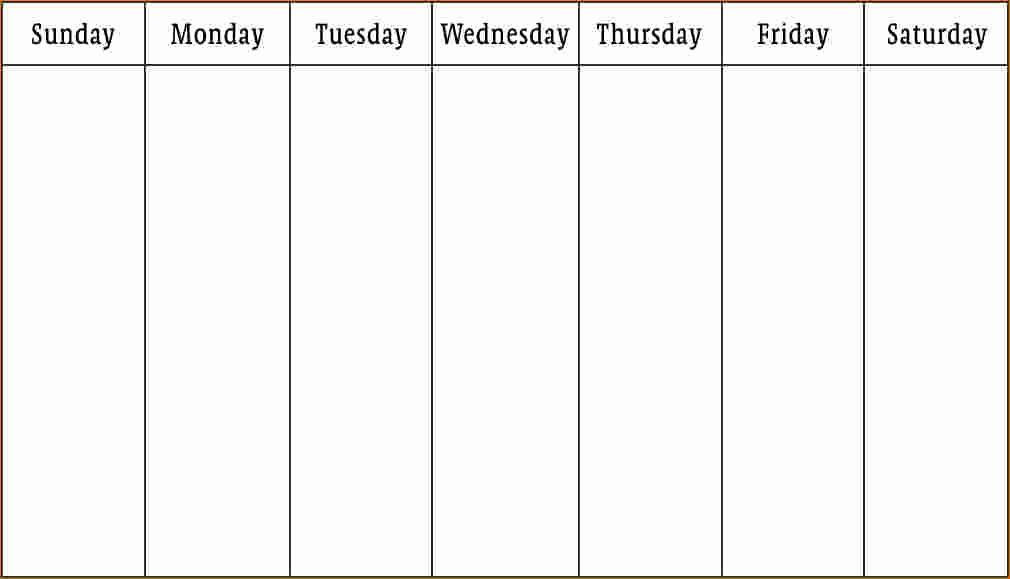 5 Day Weekly Calendar Template Elegant 3 Work Week Calendar Template