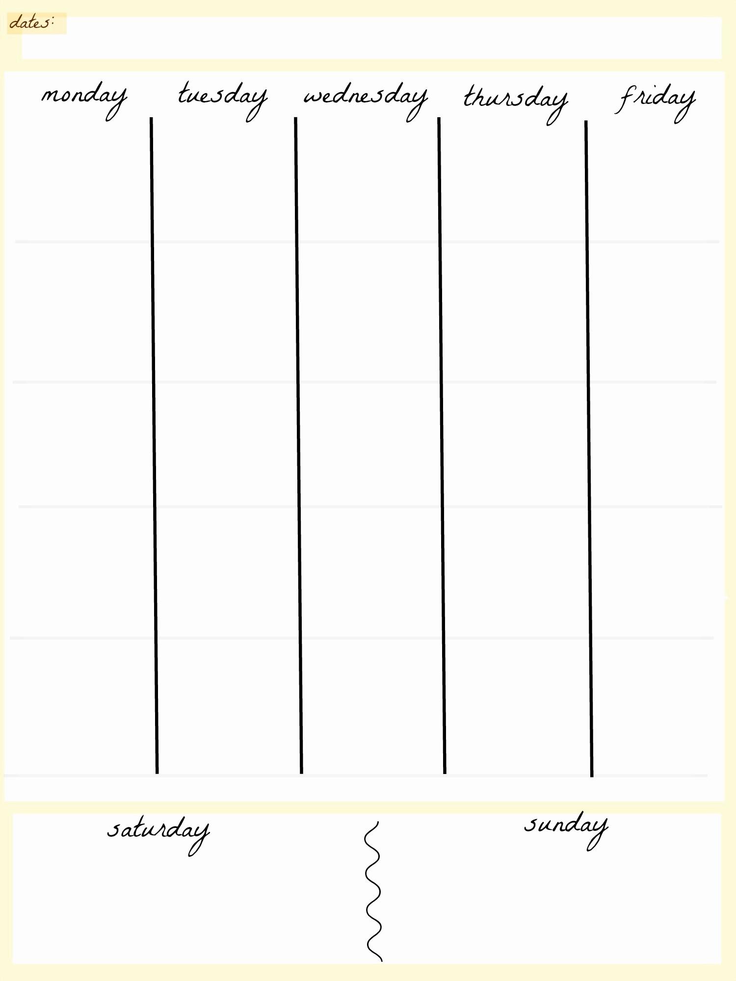 5 Day Weekly Calendar Template Elegant 5 Day Work Week Monthly Calendar Printable – Calendar