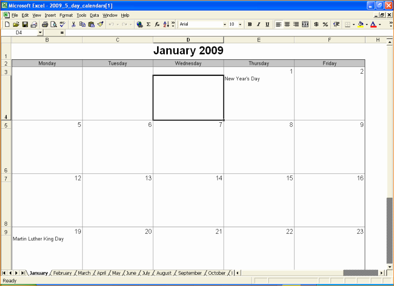 5 Day Weekly Calendar Template Lovely 6 5 Day Calendar Template