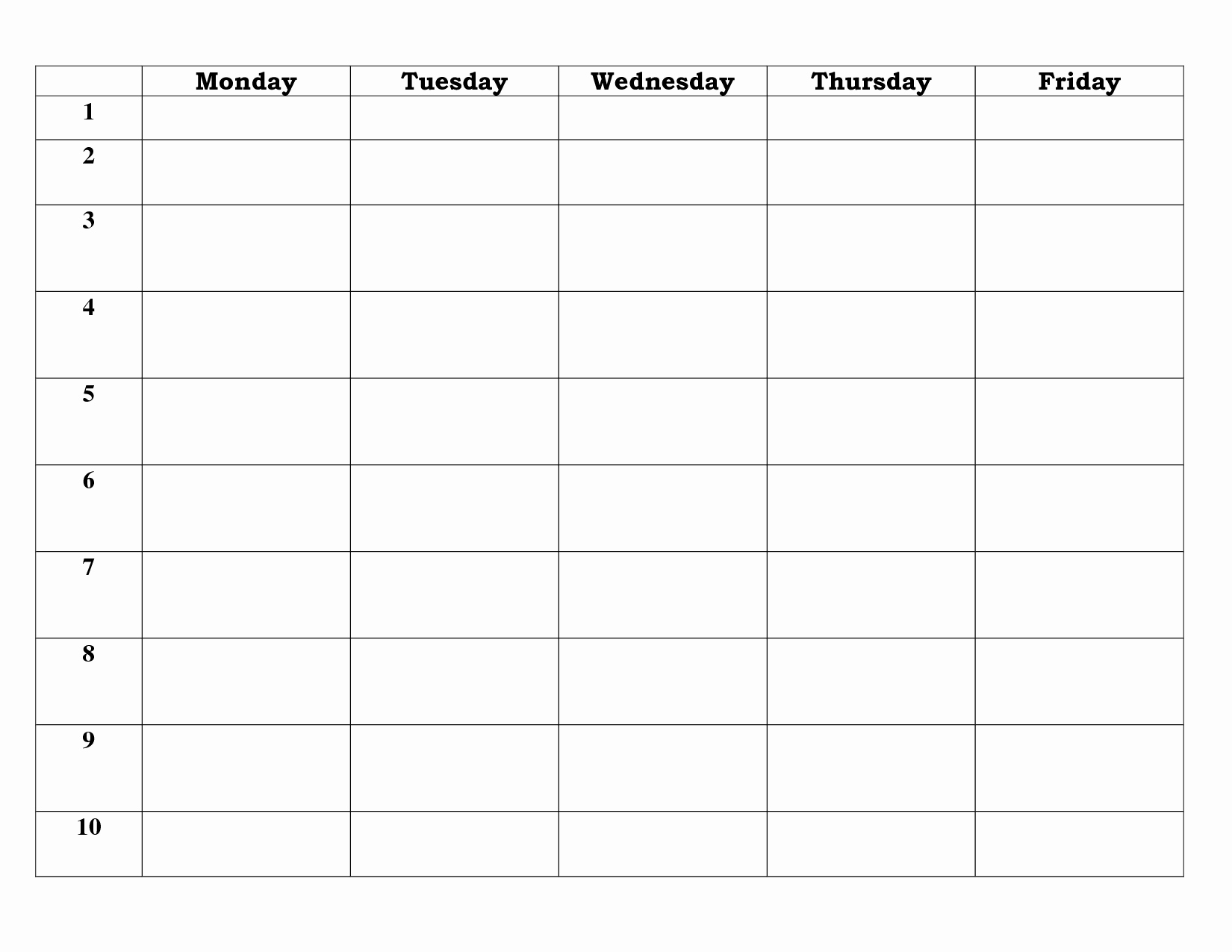 5 Day Weekly Calendar Template Lovely 7 Best Of 5 Day Work Week Monthly Calendar