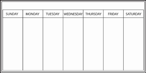 5 Day Weekly Calendar Template Lovely Weekly Calendar Whiteboard