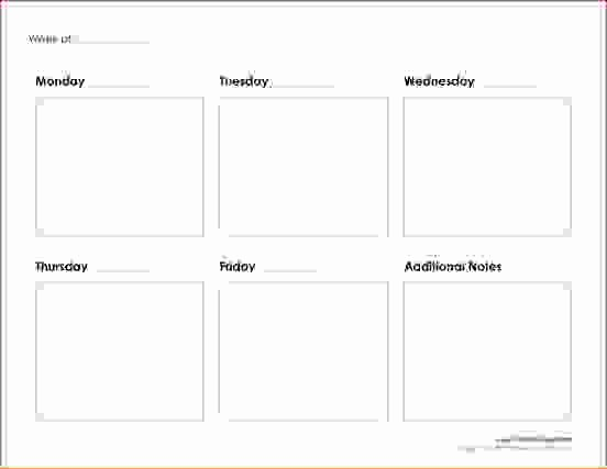 5 Day Weekly Calendar Template New 7 5 Day Calendar Template
